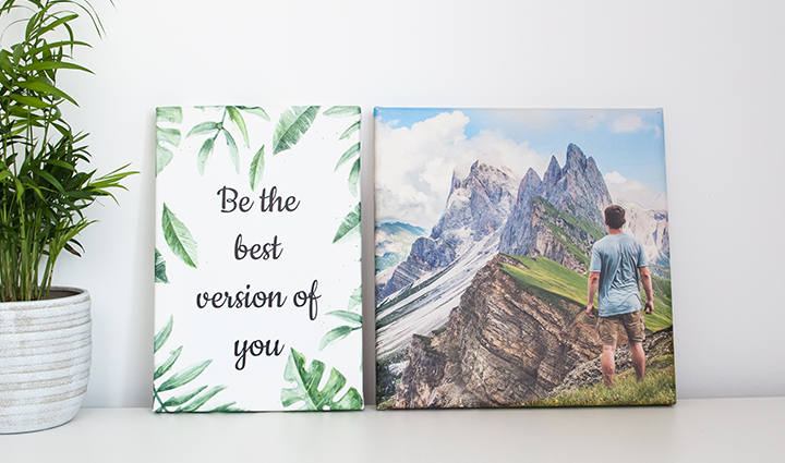 Two canvases – one with a motivational quote