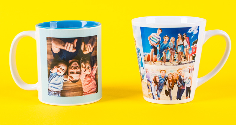 Two mugs – Coloured and Latte Mug – with holiday photos on the yellow background