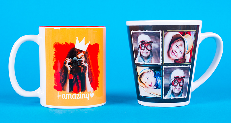 Two photo mugs – one coloured mug, one latte mug with photos on the blue background