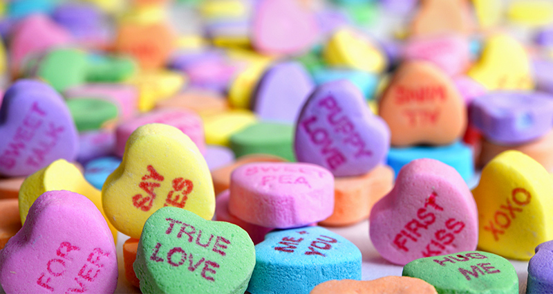Valentine's candy with words