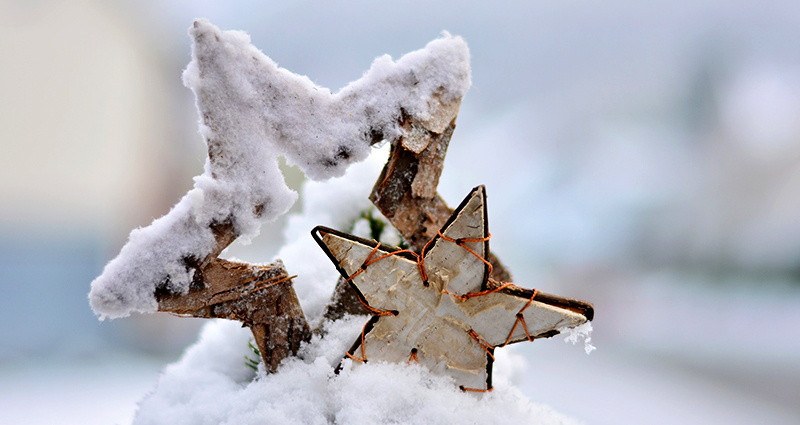 Wooden stars covered in snow