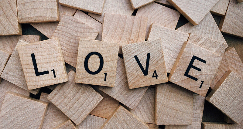Word LOVE in scrabble letters