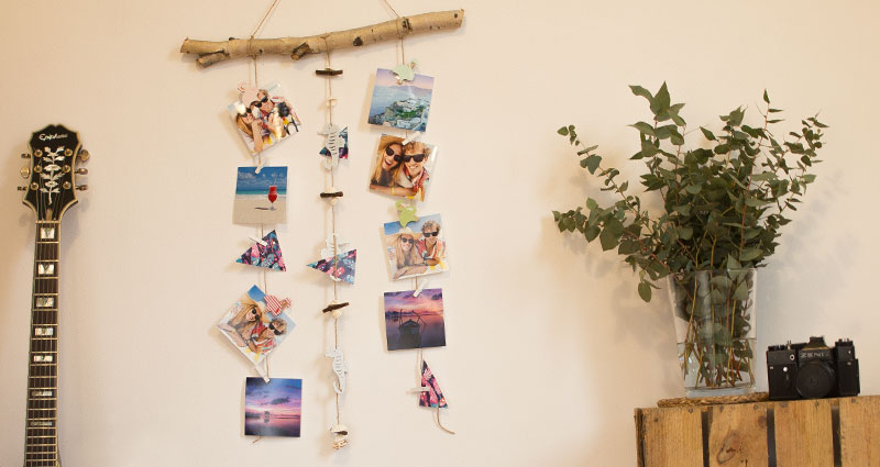 Photos hanging on twine attached to a branch.