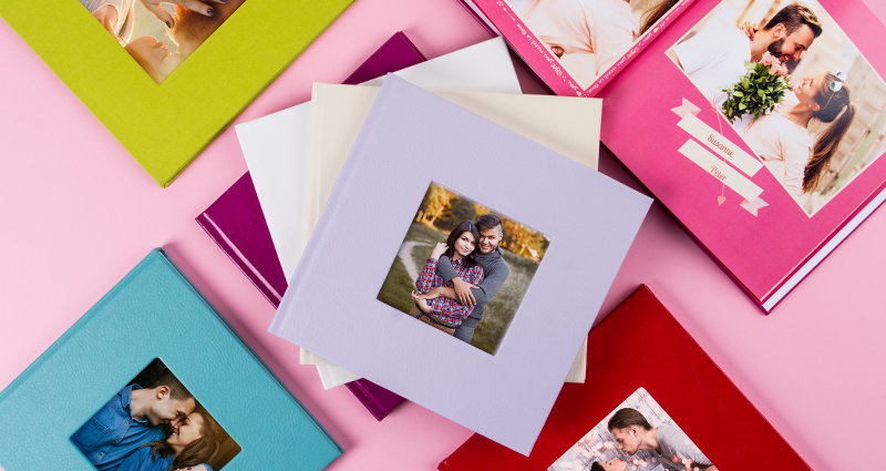 Square photo book – colourful covers.