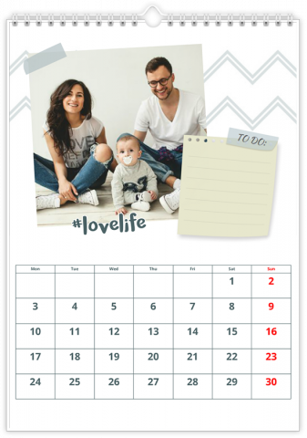 Calendrier Photo 20x30 (A4) VOTRE PLANNING