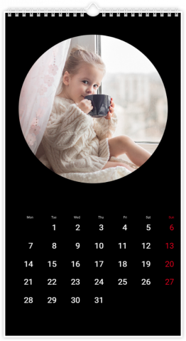 Calendrier Photo 33x60,5 (XL) Rond noir