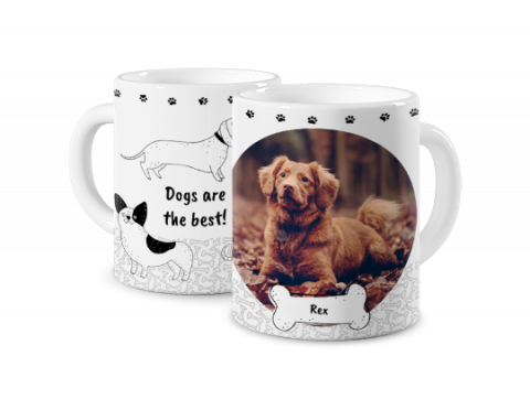 Coloured Mug Photo Mug with a Dog