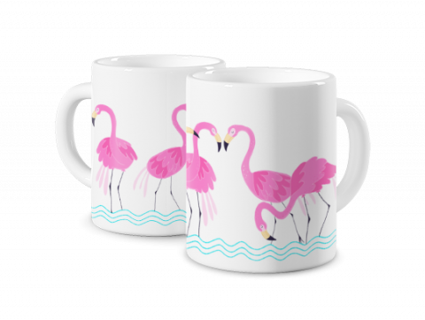 Mug Photo Magique Défilé de flamants roses