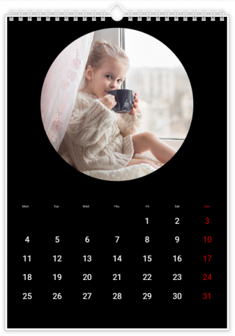Photo Calendar 12x18 inches Round Frame Black