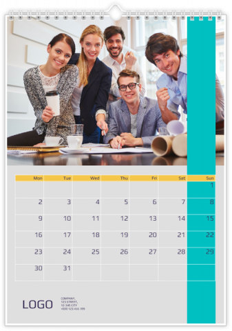 Photo Calendar 20x30 (A4 Portrait) Business - Blue