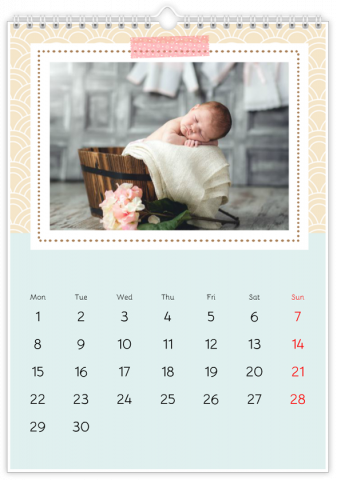 Photo Calendar 20x30 (A4 Portrait) Peppermint