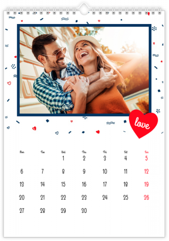 Photo Calendar 20x30 (A4 Portrait) Heart to Heart