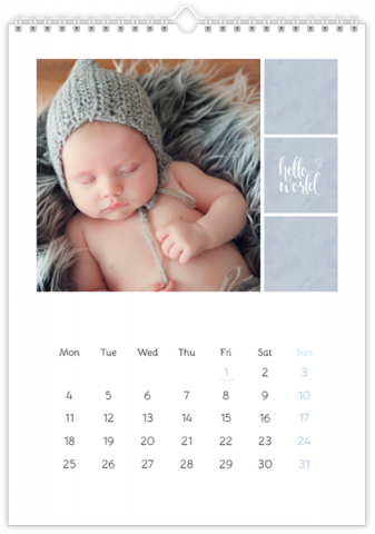 Photo Calendar 20x30 (A4 Portrait) Sweet Angel - Blue