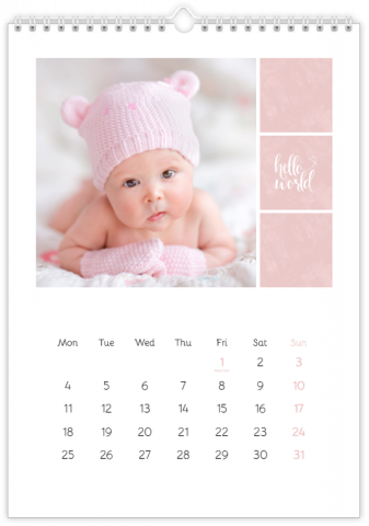 Photo Calendar 20x30 (A4 Portrait) Sweet Angel - Pink