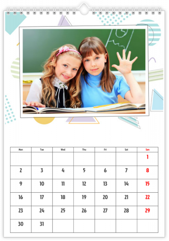 Photo Calendar 20x30 (A4 Portrait) School Pack