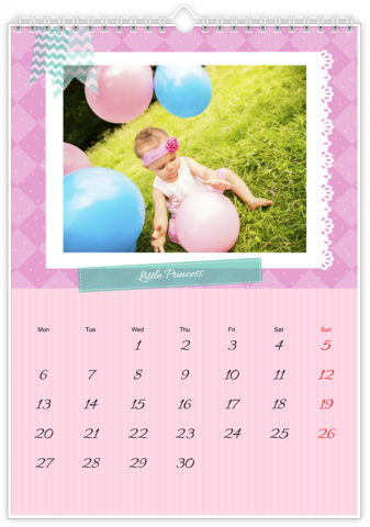 Photo Calendar 20x30 (A4 Portrait) Little Princess