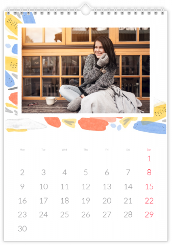 Photo Calendar 12x18 inches Watercolour Mosaic