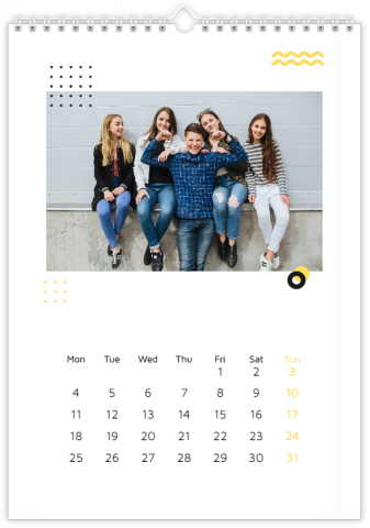 Photo Calendar 30x45 (A3+ Portrait) Black and Gold Patterns