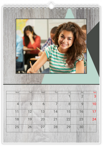 Photo Calendar 12x18 inches Wooden Facture