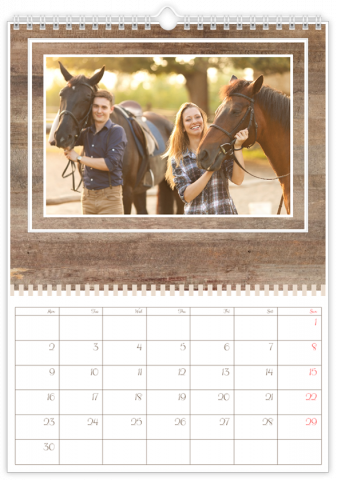 Photo Calendar 30x45 (A3+ Portrait) Wooden Pattern