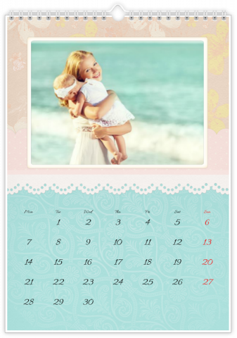 Photo Calendar 12x18 inches Embroidered