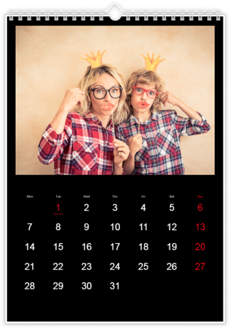 Photo Calendar 30x45 (A3+ Portrait) Classic Black