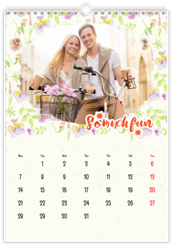 Photo Calendar 30x45 (A3+ Portrait) Pastel Floral