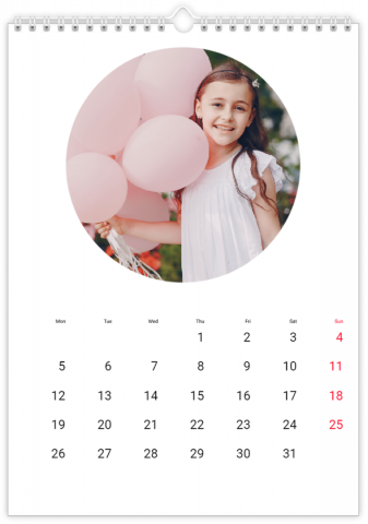 Photo Calendar 12x18 inches Round Frame White