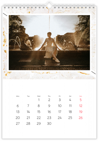 Photo Calendar 30x45 (A3+ Portrait) Marble Background