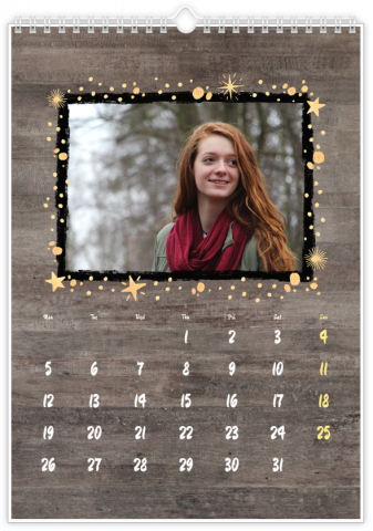 Photo Calendar 12x18 inches Wooden Style