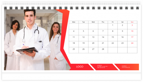 Photo Calendar Desk 21x12 (A5) Business - Red