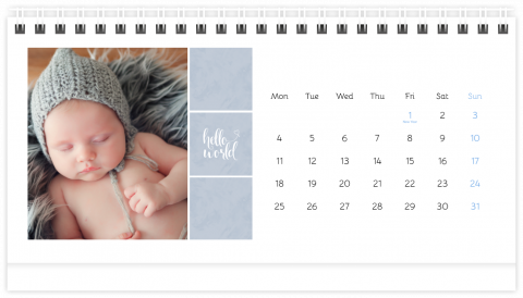 Photo Calendar Desk 21x12 (A5) Sweet Angel - Blue