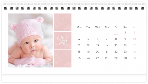 Photo Calendar Desk 21x12 (A5) Sweet Angel - Pink