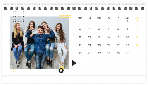 Photo Calendar Desk 21x12 (A5) Black and Gold Patterns