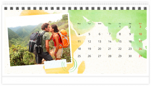 Photo Calendar Desk 21x12 (A5) Around the World