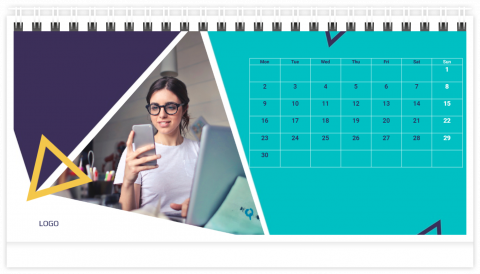 Photo Calendar Desk 21x12 (A5) Business - Geometric