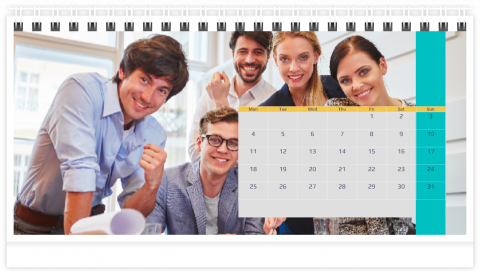 Photo Calendar Desk 21x12 (A5) Business - Blue