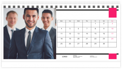 Photo Calendar Desk 21x12 (A5) Business - Pink