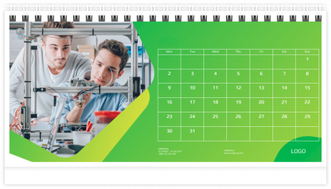 Photo Calendar Desk 21x12 (A5) Business - Green