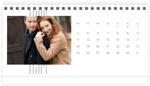 Photo Calendar Desk 21x12 (A5) Lovely Lines
