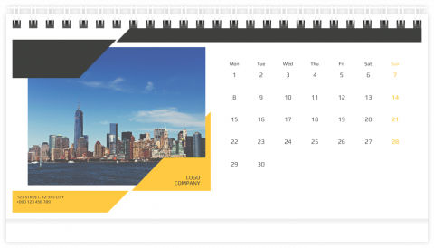 Photo Calendar Desk 21x12 (A5) My Company