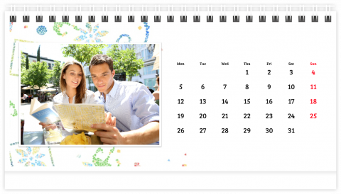 Photo Calendar Desk 21x12 (A5) Sunny Mosaic