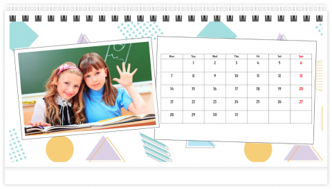 Photo Calendar Desk 21x12 (A5) School Pack