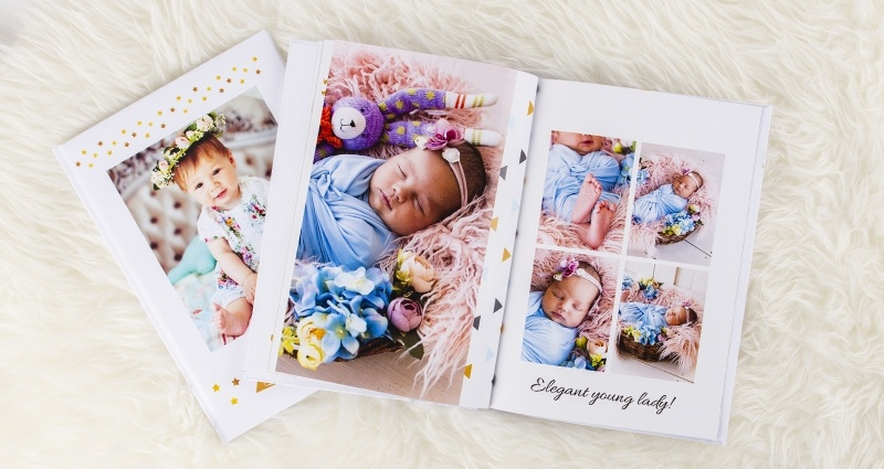 Photo books from a newborn babys shoot