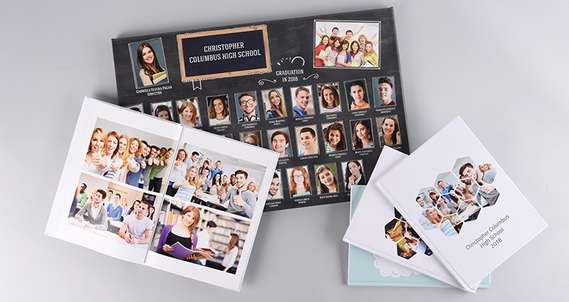 Photo canvas and school yearbook