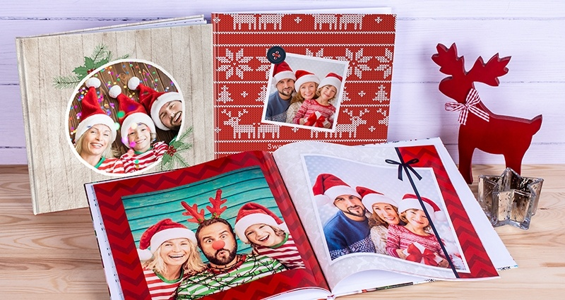 Three Christmas square photo books